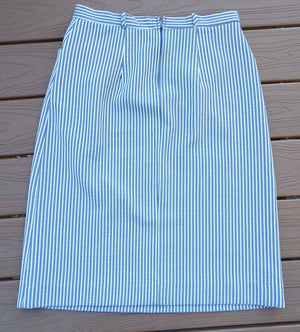 TICKING STRIPE SKIRT mid length straight pencil 1960's 1970's L (D2)