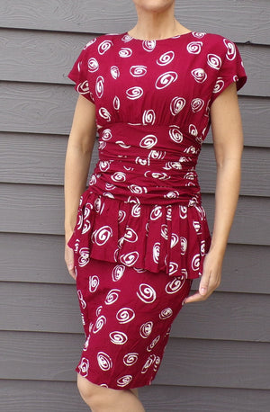all that jazz 80's 90's PEPLUM WIGGLE DRESS 1940's style xs S (G1)