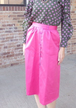 "salmon pink KORET SATEEN SKIRT high waist A-line 25"" waist xs (D6)"