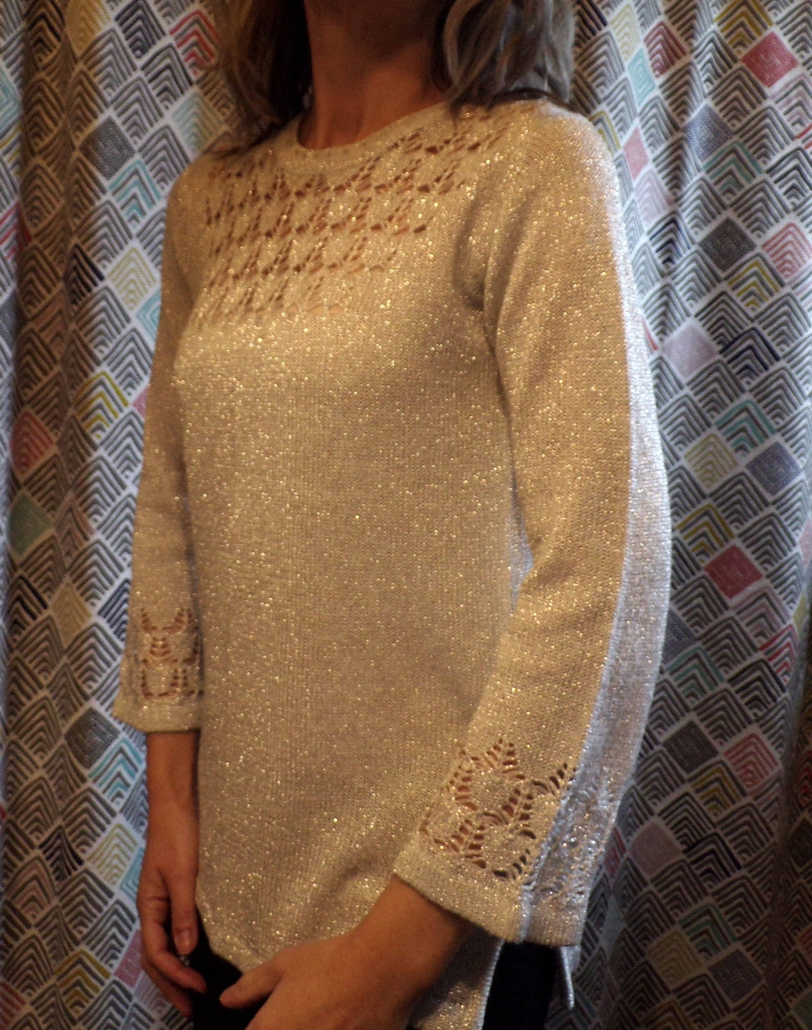 SILVER TWINKLE tunic SWEATER party top S M (G10)