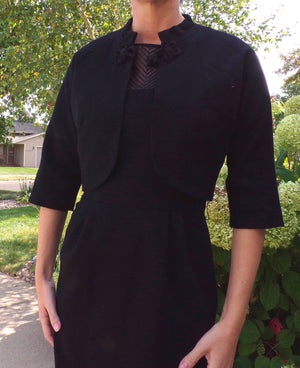 BLACK WIGGLE DRESS with illusion neckline and matching jacket S (D8)