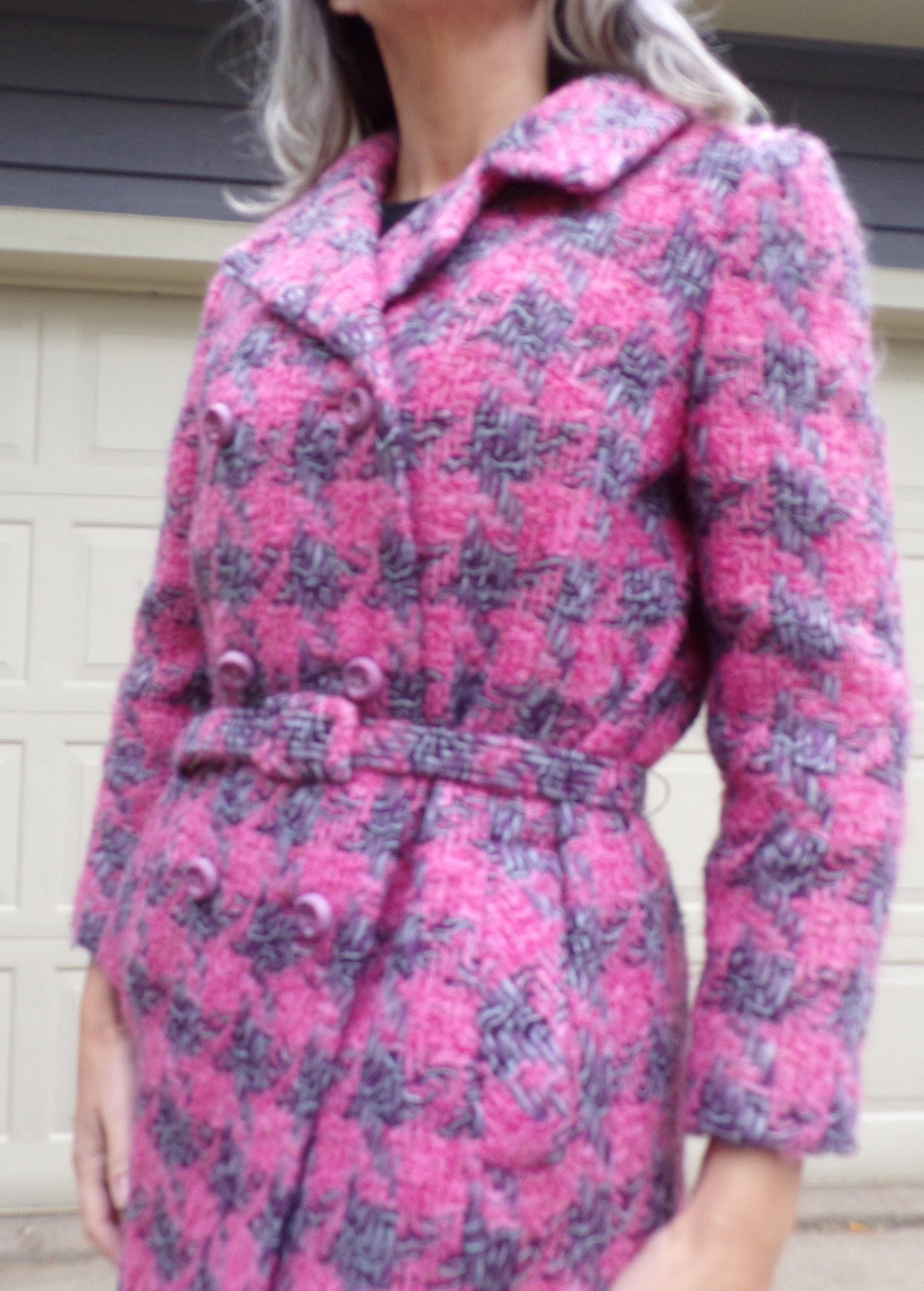 PINK and PURPLE houndstooth COAT vintage S
