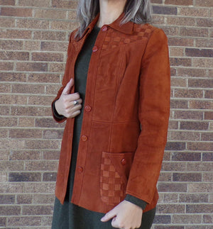 RUST SUEDE JACKET vintage leather 1970's womens S