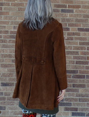 CHESTNUT BROWN SUEDE leather coat jacket vintage S M