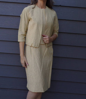GOLDEN TWINKLE SET 1960's 60's pencil skirt shell and jacket suit S M (H5)