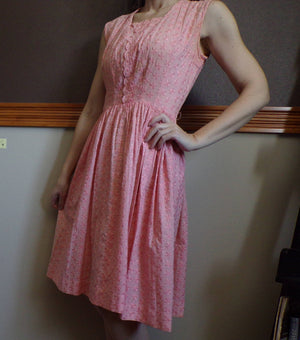 LIGHT PINK COTTON embroidered flower dress S 1950's 50's (D7)