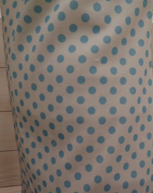 AQUA BLUE polka dot mod DRESS pussy bow neck tie M (B1)