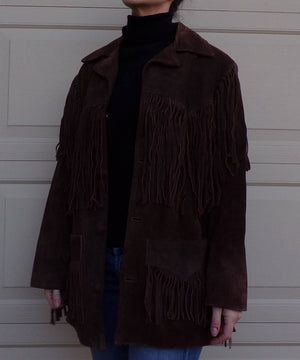 BROWN fringed SUEDE LEATHER jacket fringe 1970's 70's 38 trego's