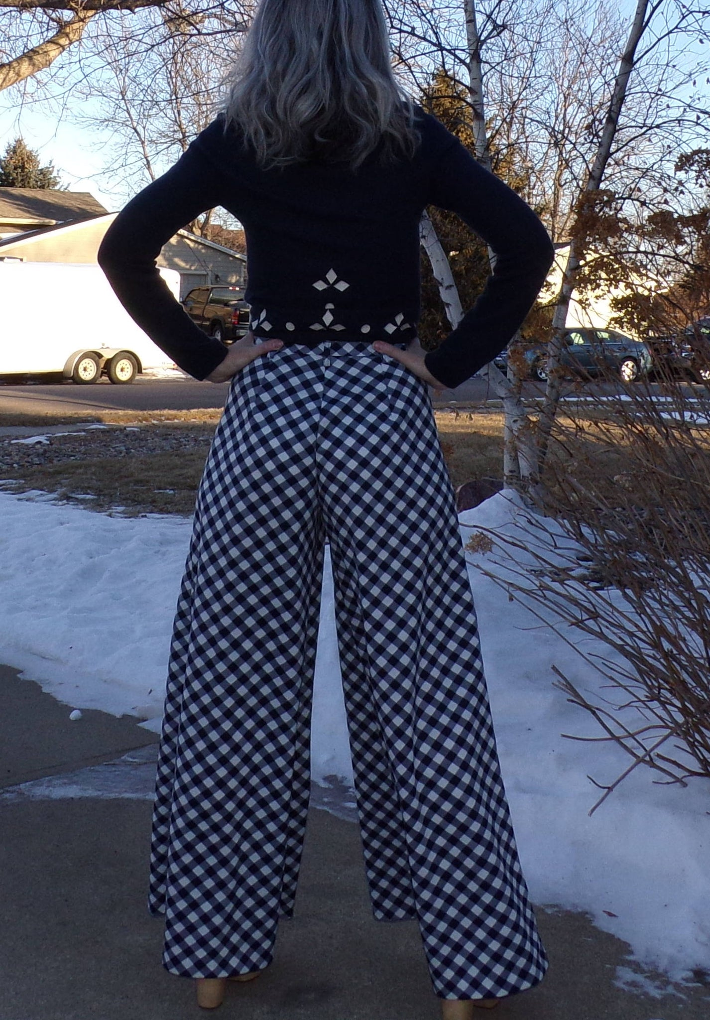 SUPER WIDE LEG palazzo pants high waist 1970's 70's S or small-waisted M plaid