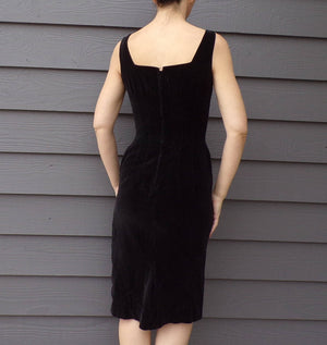 BLACK COTTON VELVET wiggle dress 1950's 1960's pencil skirt S (H5)
