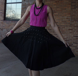 jerry gilden spectator FULL BLACK SKIRT with pearls and rhinestones S 1950's 50's (A8)