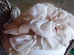 1950's IVORY HEADBAND HAT shell head band 50's floral