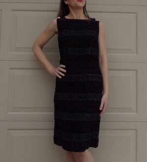 BLACK DETAILED SHEATH dress lace and ruching adrian tabin M (B2)