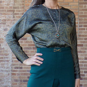 1980's does 1920's TESS SATEEN BLOUSE dolman sleeves S (G10)