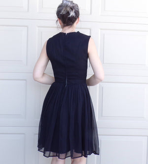 BLACK CHIFFON party DRESS 1950s 1960s S (B2)