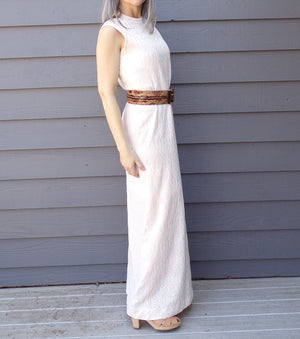 palest pink POINTELLE KNIT maxi DRESS 1970s 70s S M (B5)