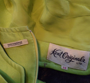 1960's LIME GREEN DRESS set jacket 60s S (B8)