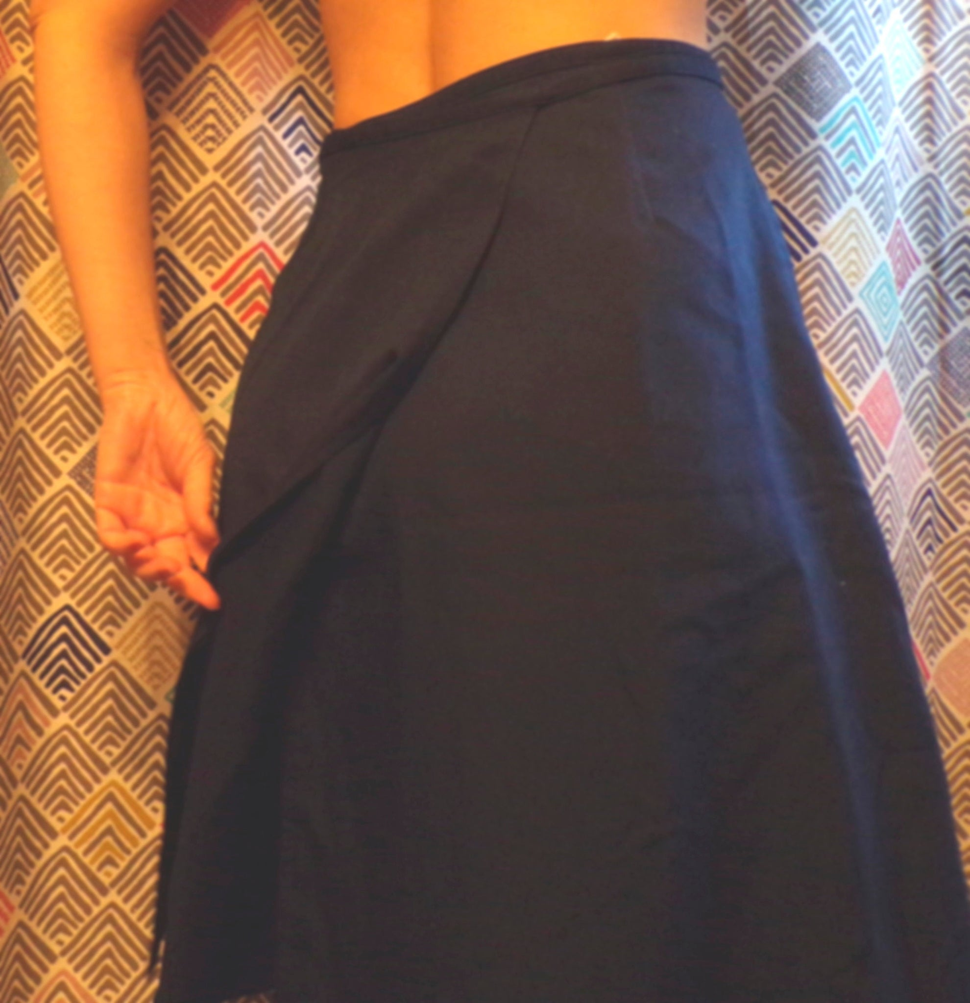 navy blue VINTAGE WRAP SKIRT midi mid-length career guild xs (B7)
