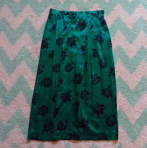 "TEAL SILK SKIRT 1980's midi intuitions 80's S 28.5"" waist (B7)"