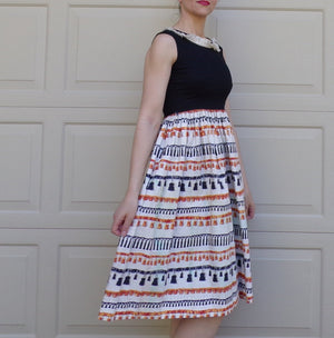 novelty TASSEL PRINT DRESS youth L women's xxs 24 waist petite (B8)