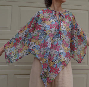 SHEER FLORAL voile PONCHO blouse xs S M (H2)