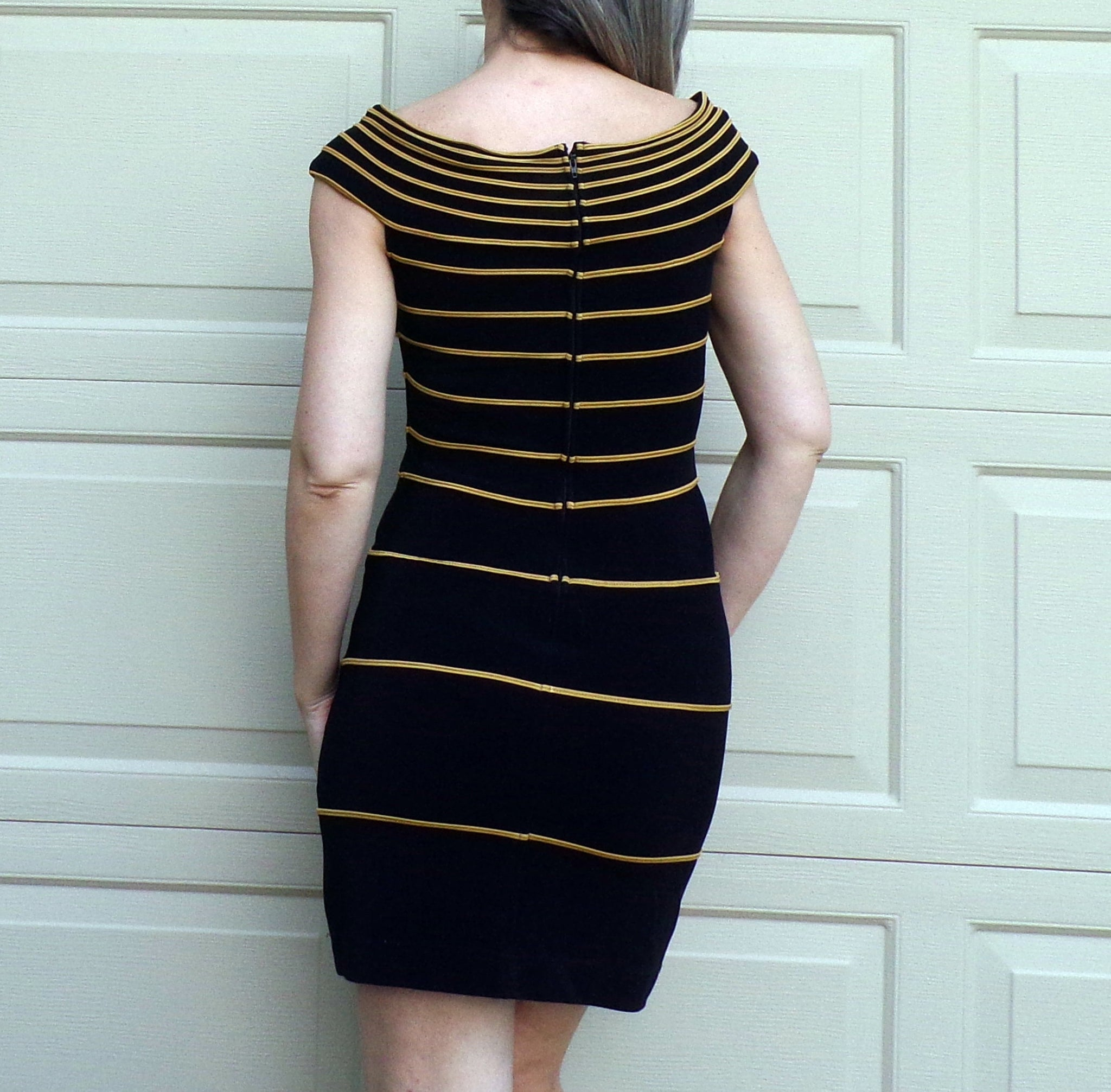 1990s TADASHI SEXY BODYCON dress black and golden yellow S M 90s (D6)