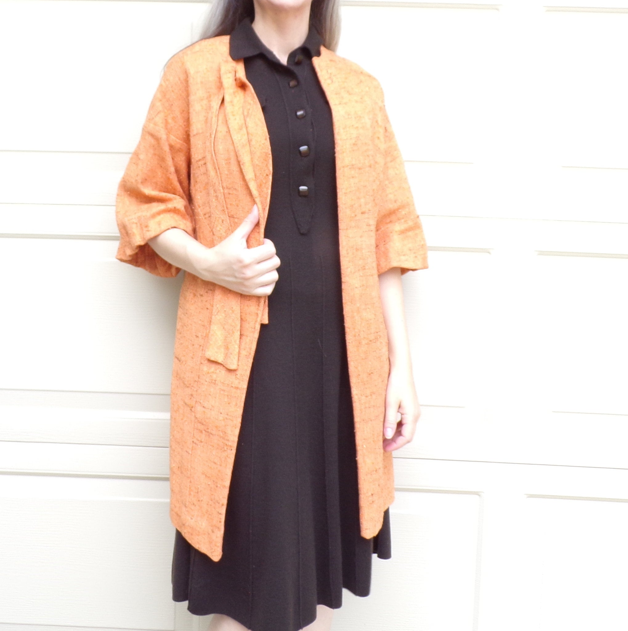 1960's ORANGE nubbly tweed SWING JACKET 60s mod S (D8)