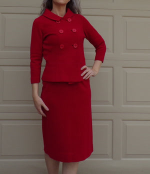 kimberly RED WOOL knit SUIT pencil skirt peacoat S (D2)