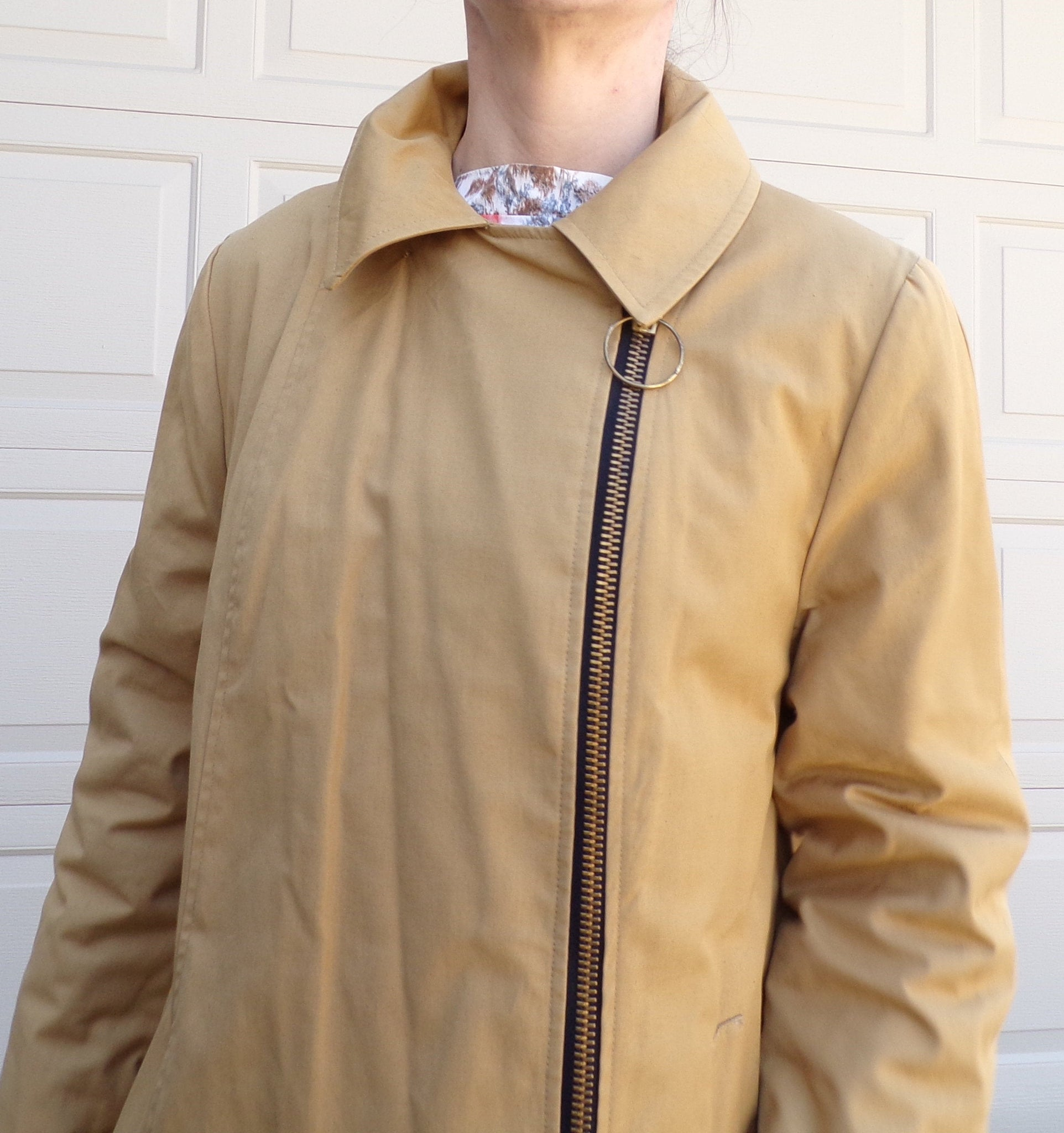 MOD TRENCH COAT asymmetric O-ring zip jacket vintage 60's S