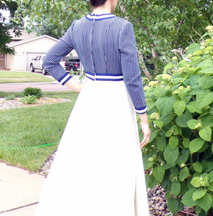 SPORTY MAXI DRESS 1970's 70's navy and white S (D6)