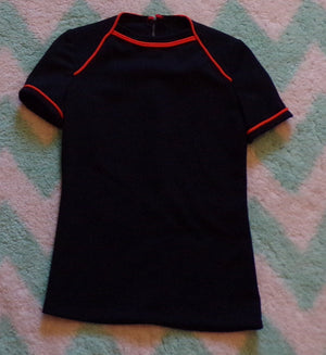 MIDNIGHT NAVY vintage tee with ORANGE piping kids M L (K2)