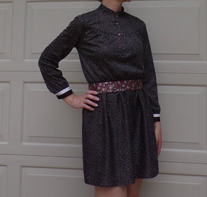 comfy 1970's POLKA DOT DRESS day dress lady carol 1980's S (B9)