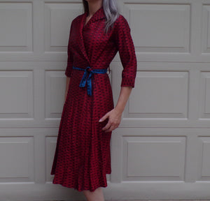 dixie lou frock 1940's WRAP DRESS 40's dressing gown with belt S (A2)