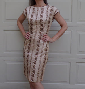 EMBROIDERED CHIFFON 1960's wiggle DRESS 60's beige S (A2)