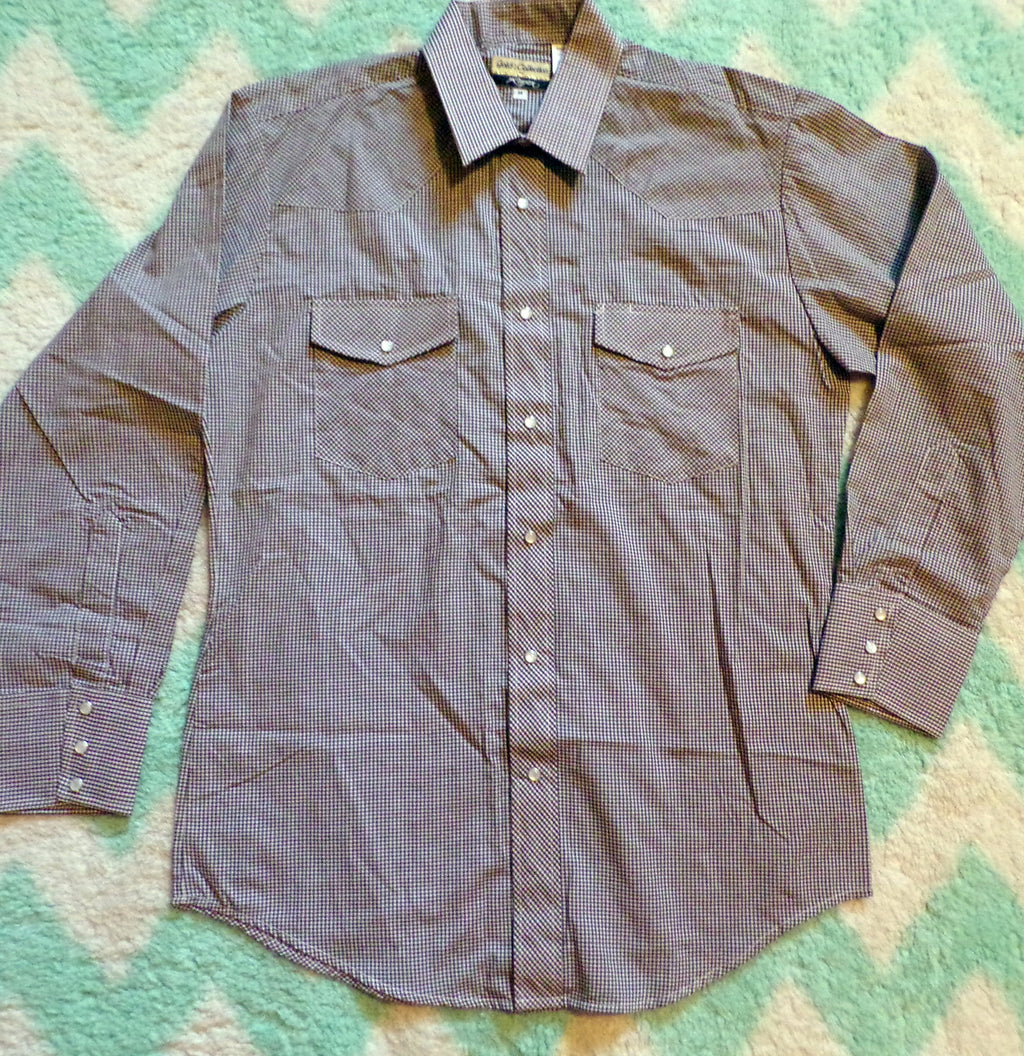 vintage ROPER gold collection WESTERN SHIRT brown gingham M (B7)