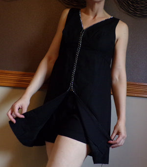 black MOD ERA MINIDRESS mini dress set with matching shorts S M (B3)