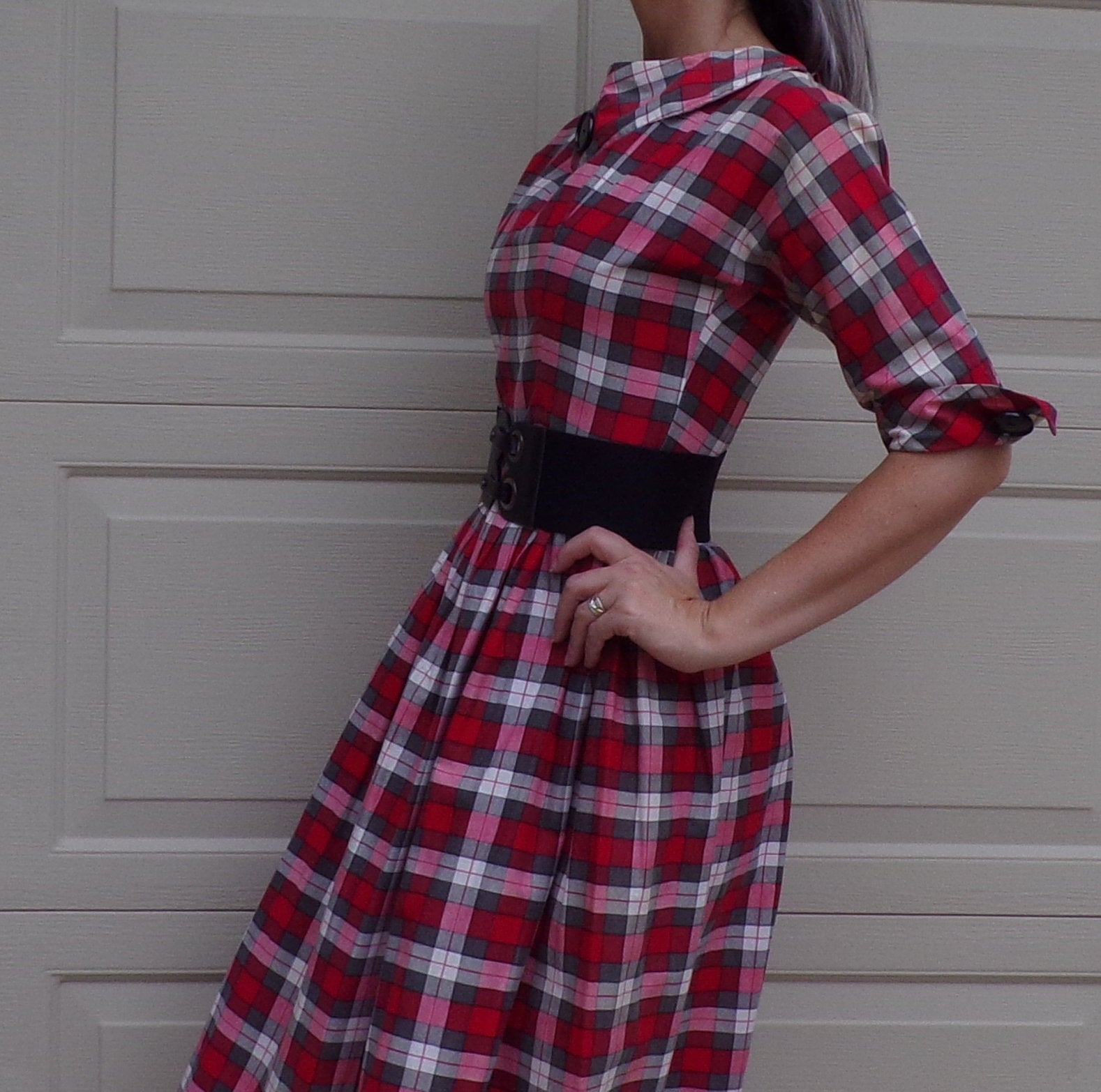 adorable PLAID SHIRTWAIST DRESS full skirt S (A3)