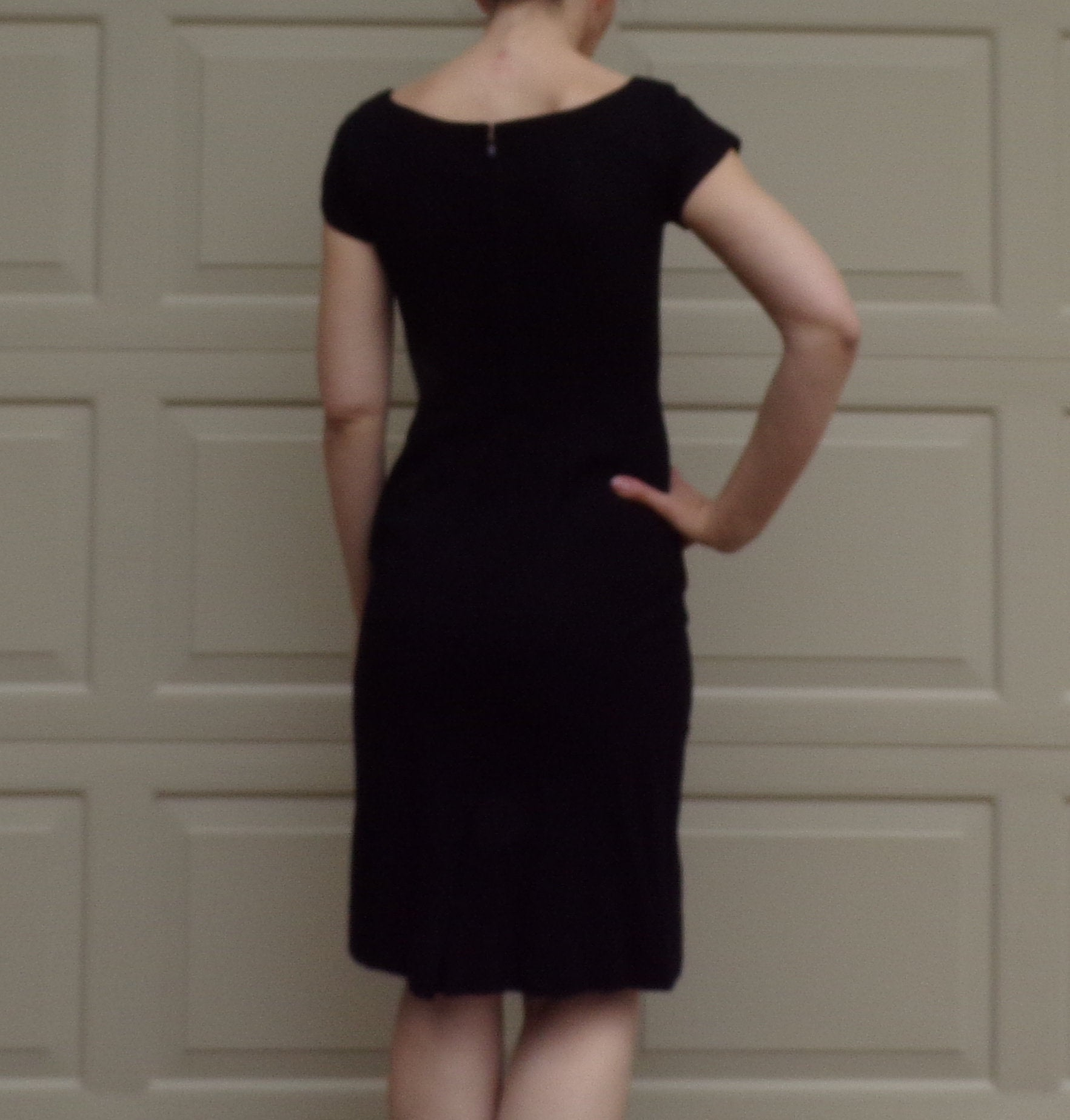BLACK WIGGLE DRESS 50s 60s with matching jacket S petite (A7)