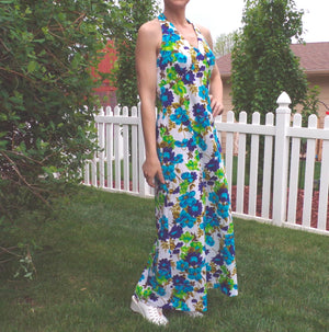 BRIGHT floral HALTER MAXI dress 30 waist M (B1)