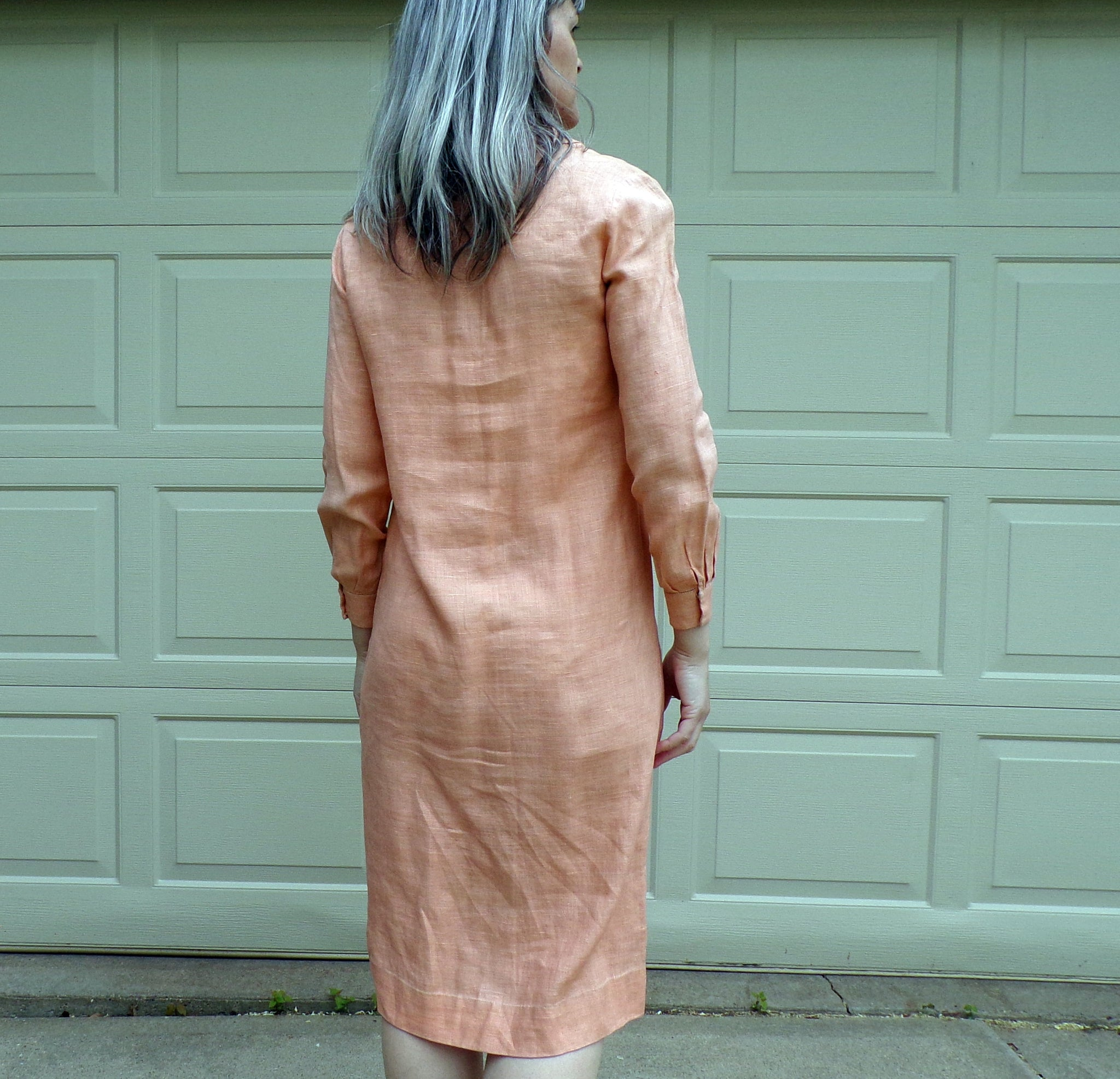 PEACH LINEN 1920s DRESS 20s deco summer xs S (E5)
