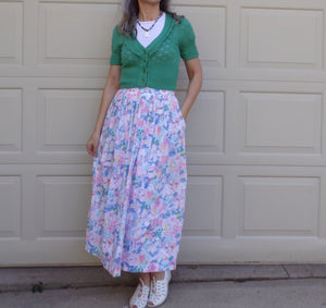PASTEL FLORAL SKIRT jos a bank 1980's 80's S (B8)