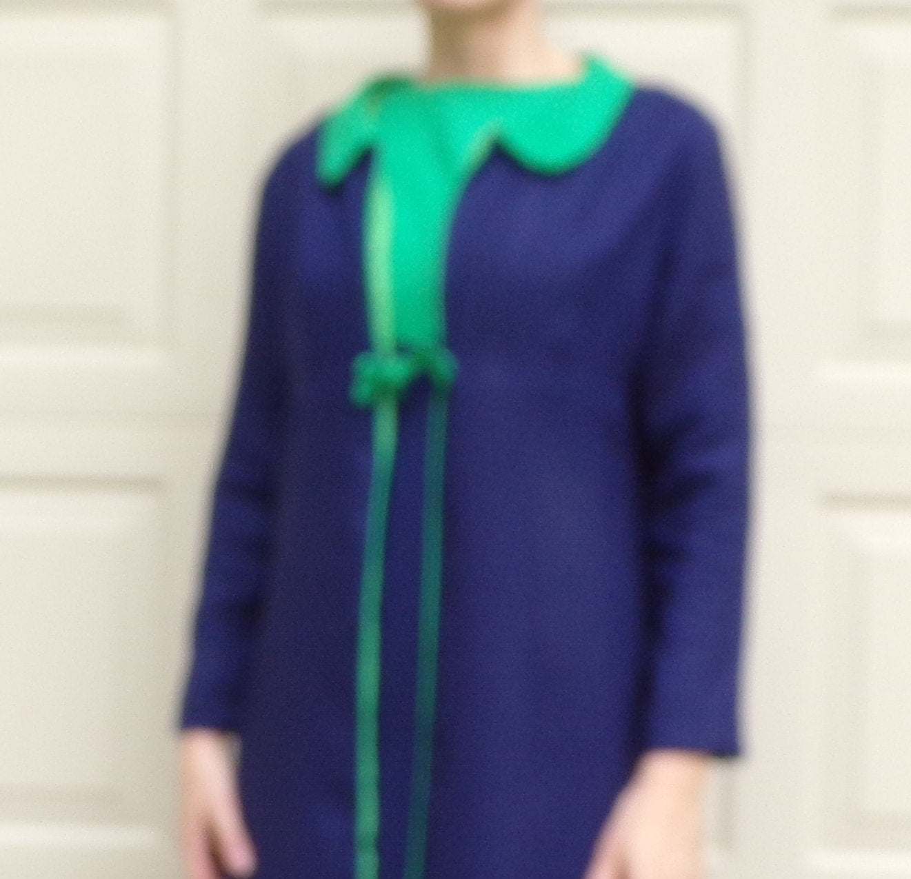 NAVY and GREEN colorblocked DRESS and jacket set 1960s 60s S (D8)