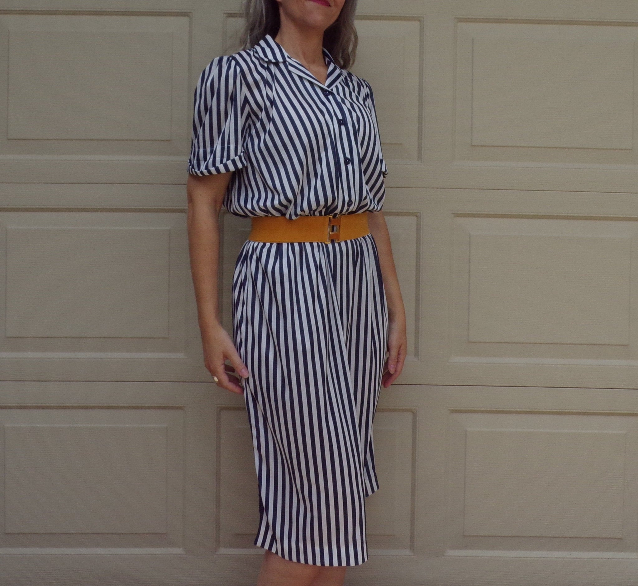 70's 80's STRIPED DAY DRESS navy and white M L (D6)