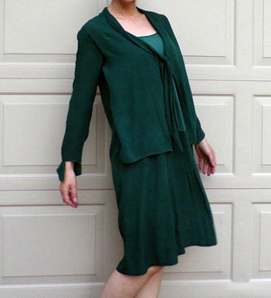 deep GREEN SILK 1920s DRESS 20s S (D9)