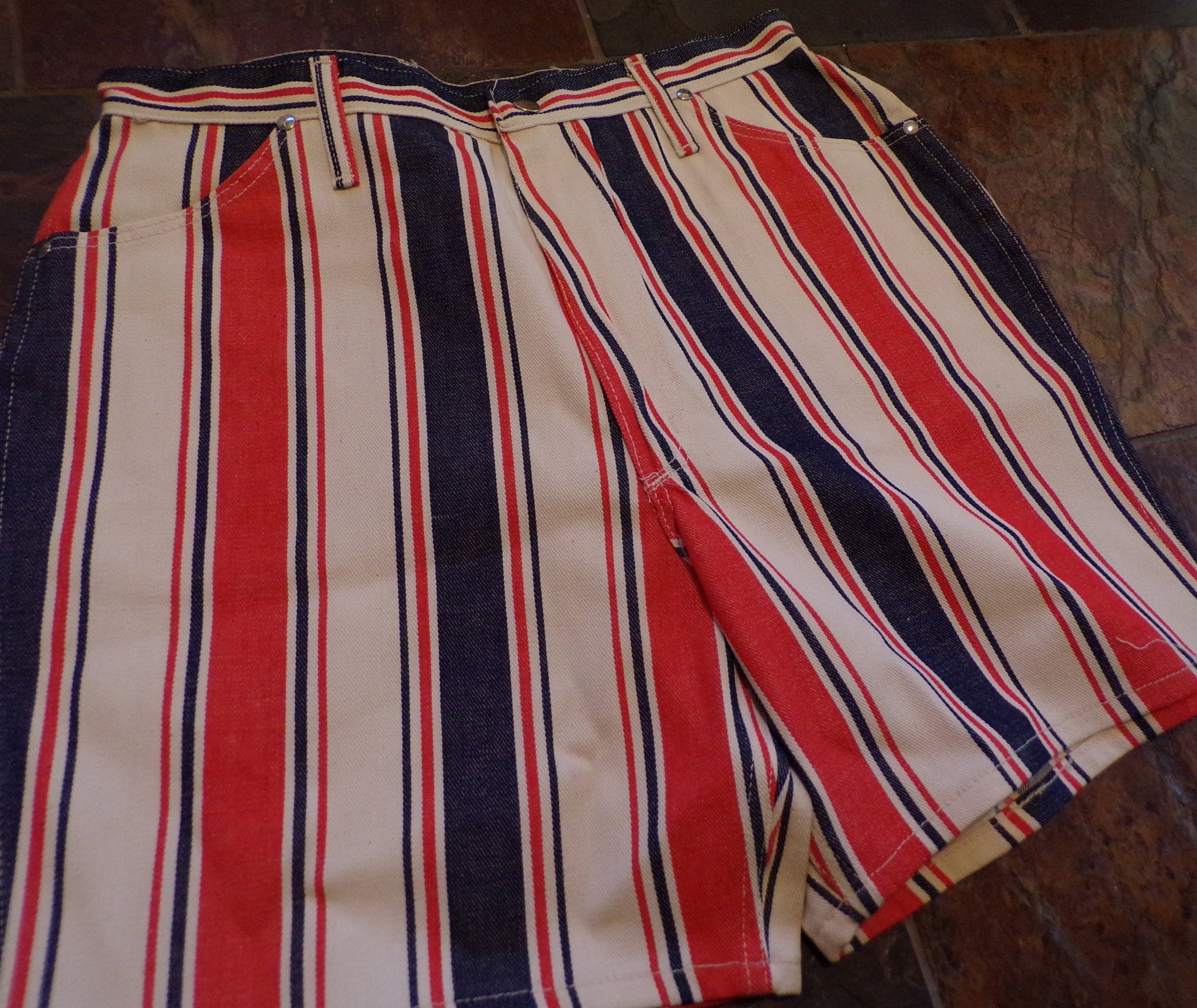 "deadstock VINTAGE 1960's MAVERICK striped denim SHORTS jean 60's 31.75"" waist"