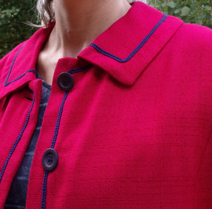WOVEN RED JACKET with navy blue piping 1960's S (B5)