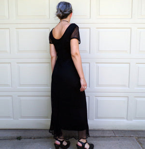 black LACE MAXI DRESS 1990's 90's M (D5)