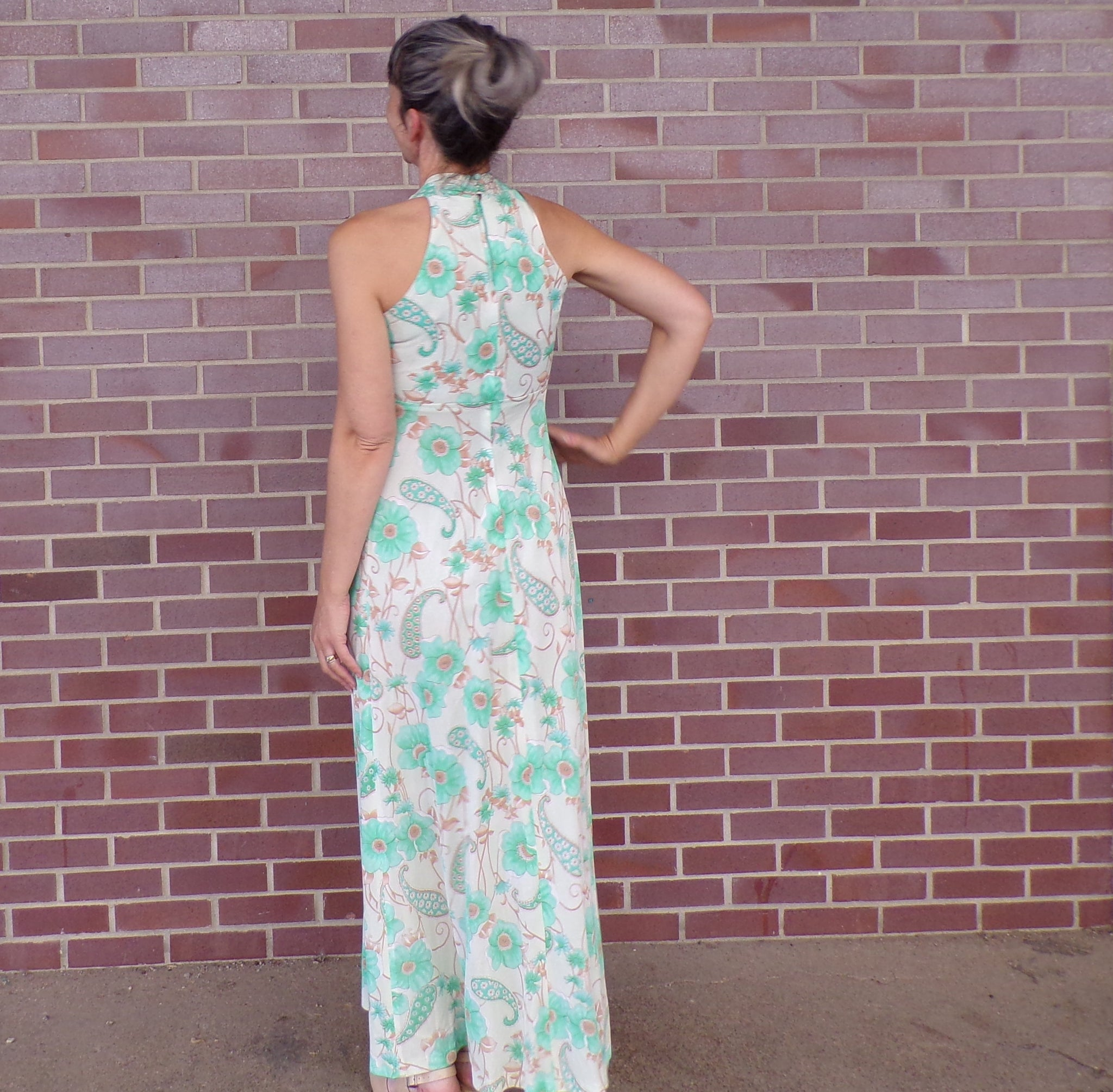1970's FLORAL EMPIRE GOWN green goddess 70's dress xs (B9)