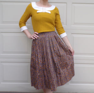 1950s 1960s COTTON MIDI SKIRT mid length mosaic pattern S (G3)