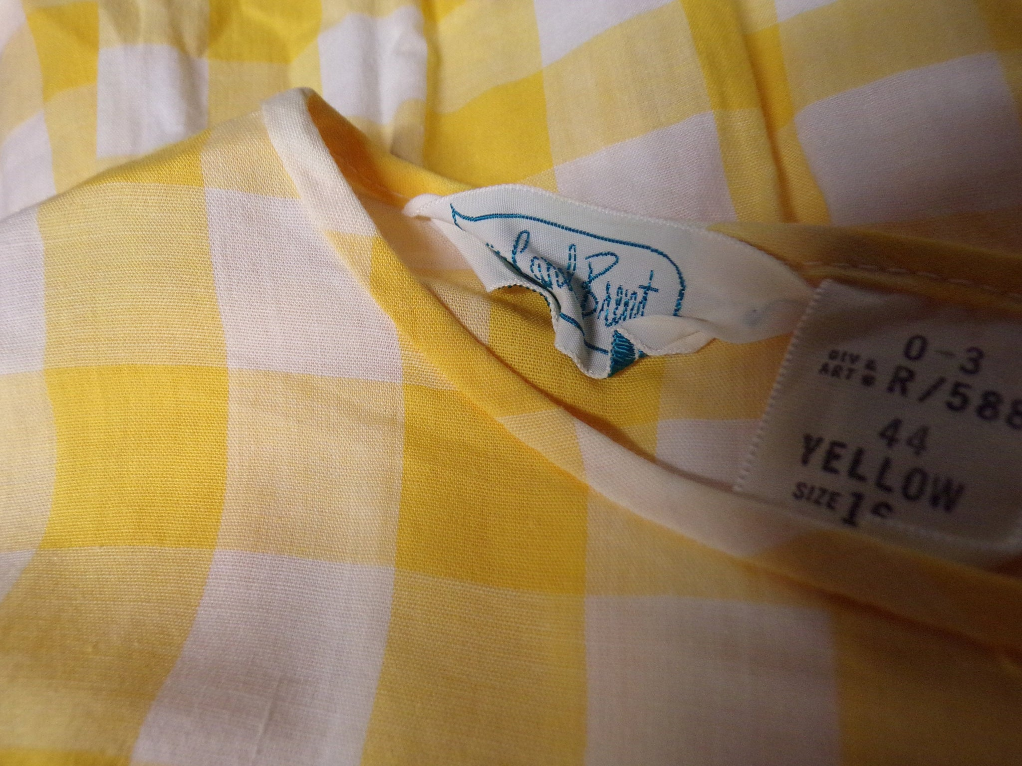 CAROL BRENT yellow PLAID dress 1950s 50s S (H9)